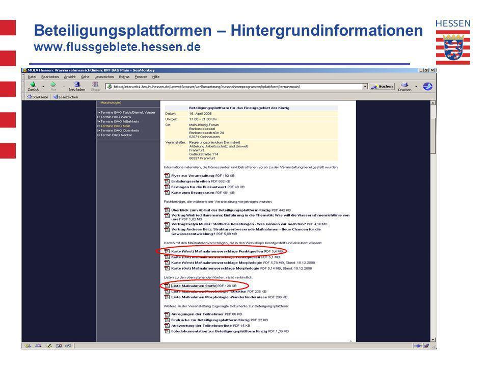Beteiligungsplattformen – Hintergrundinformationen www. flussgebiete