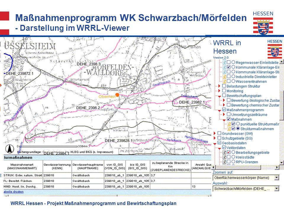 Maßnahmenprogramm WK Schwarzbach/Mörfelden - Darstellung im WRRL-Viewer