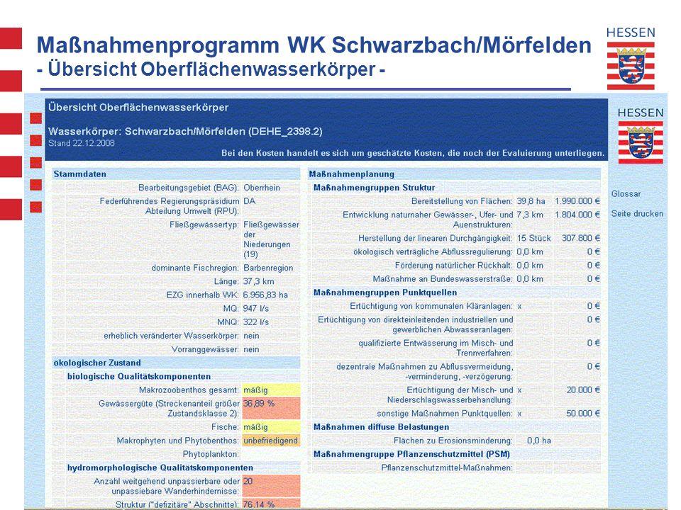 Maßnahmenprogramm WK Schwarzbach/Mörfelden - Übersicht Oberflächenwasserkörper -