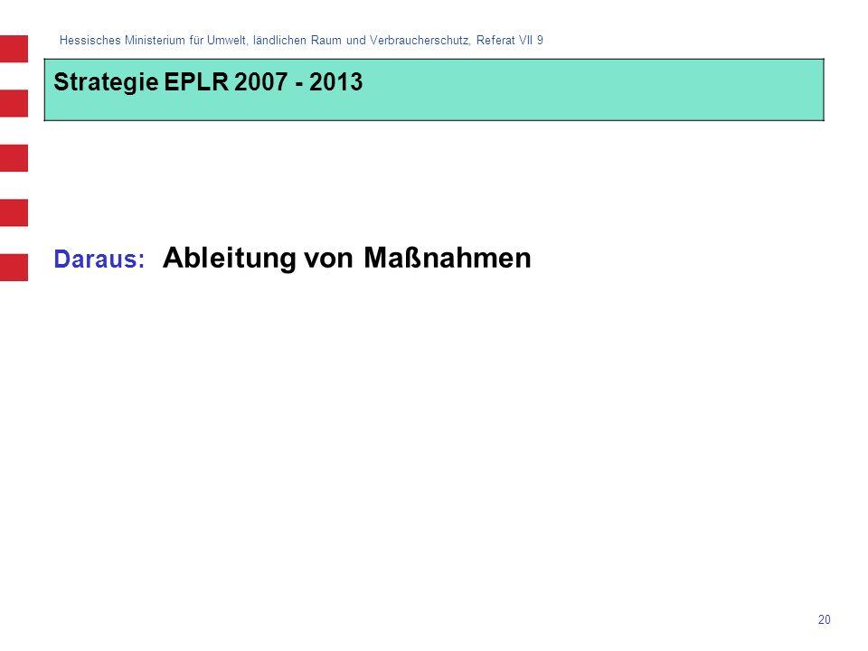 Strategie EPLR 2007 - 2013 Daraus: Ableitung von Maßnahmen
