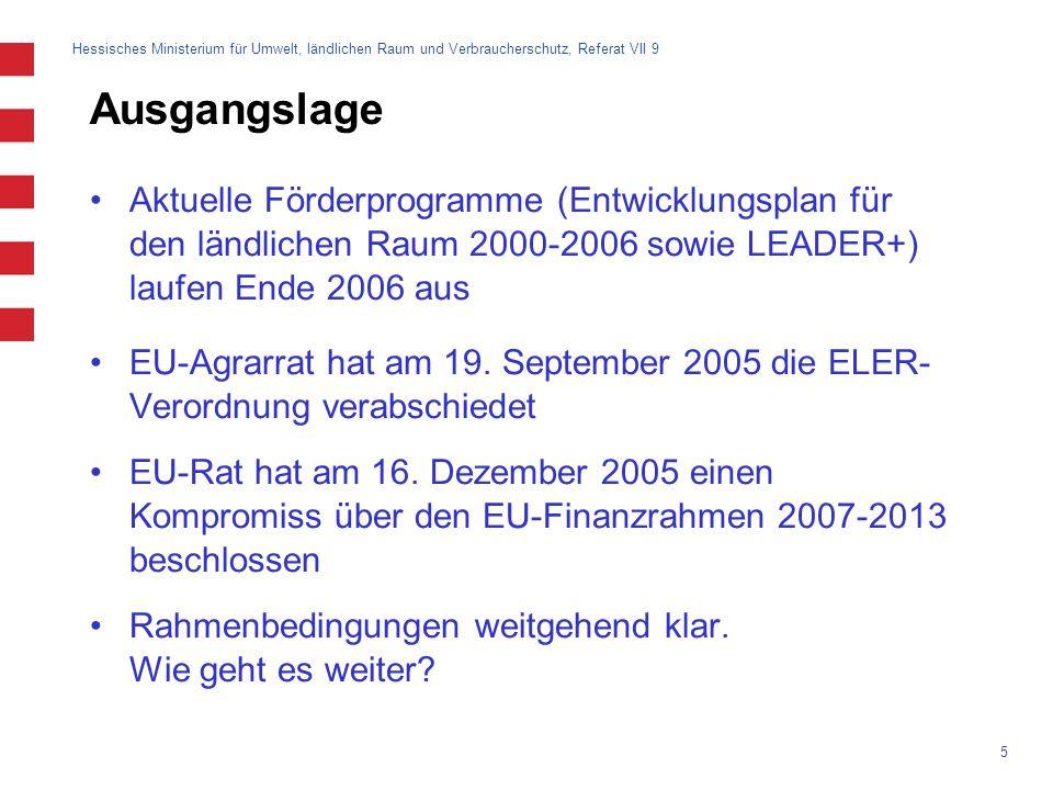 Ausgangslage Aktuelle Förderprogramme (Entwicklungsplan für den ländlichen Raum 2000-2006 sowie LEADER+) laufen Ende 2006 aus.