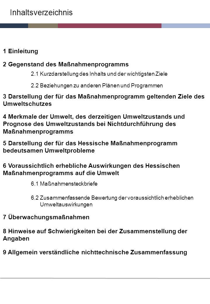 Inhaltsverzeichnis 1 Einleitung 2 Gegenstand des Maßnahmenprogramms