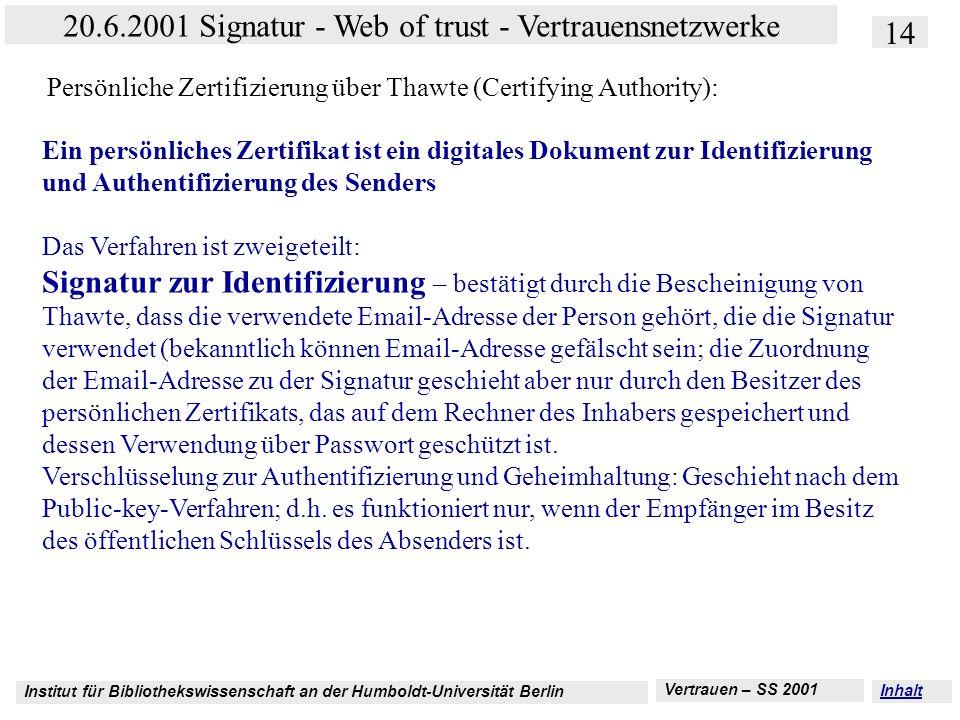Persönliche Zertifizierung über Thawte (Certifying Authority):