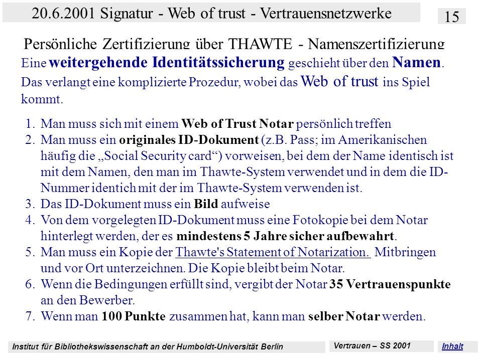 Persönliche Zertifizierung über THAWTE - Namenszertifizierung
