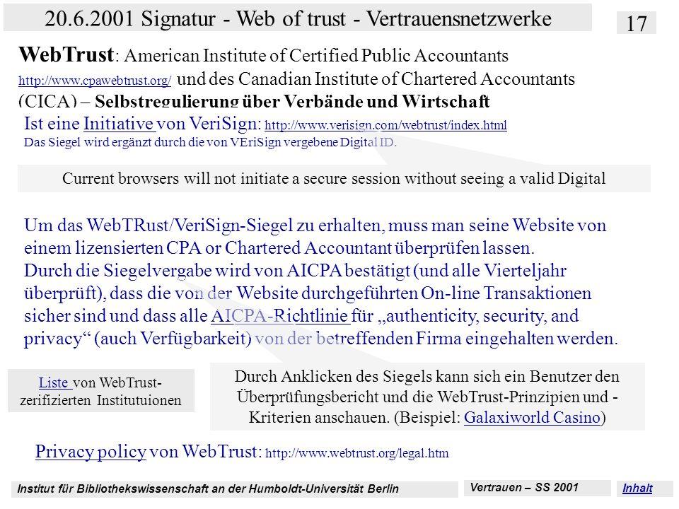 Liste von WebTrust-zerifizierten Institutuionen