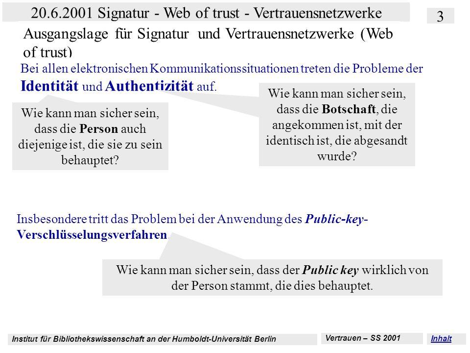 Ausgangslage für Signatur und Vertrauensnetzwerke (Web of trust)