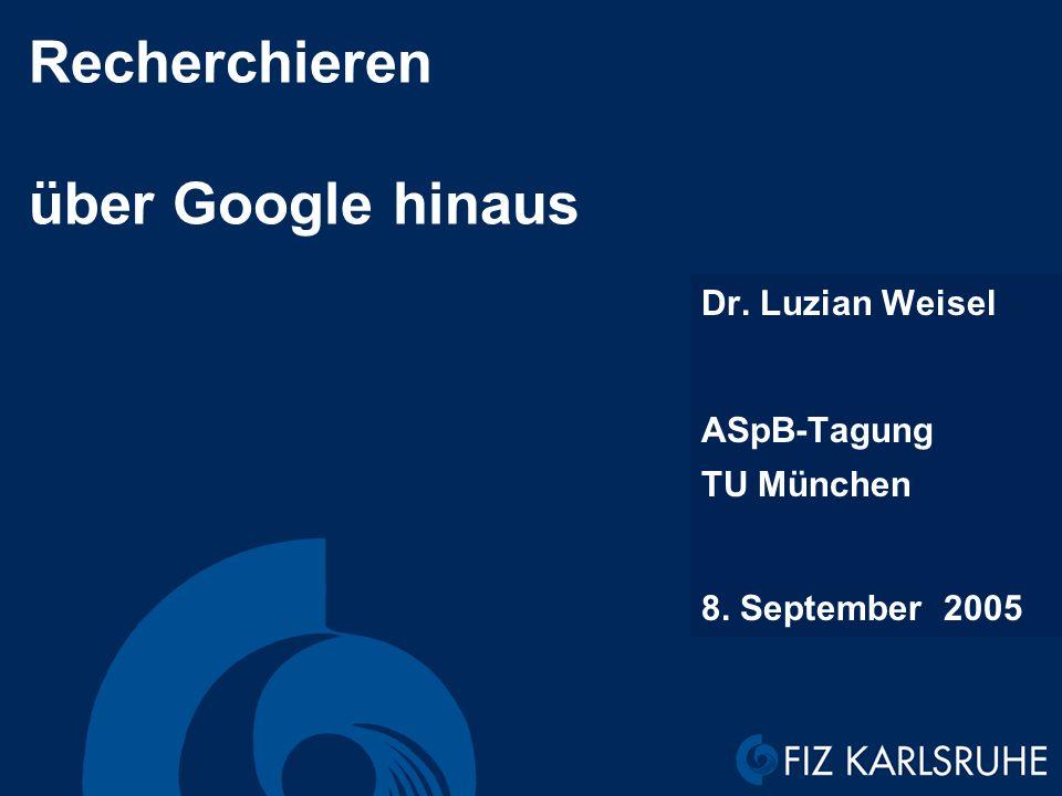 Recherchieren über Google hinaus