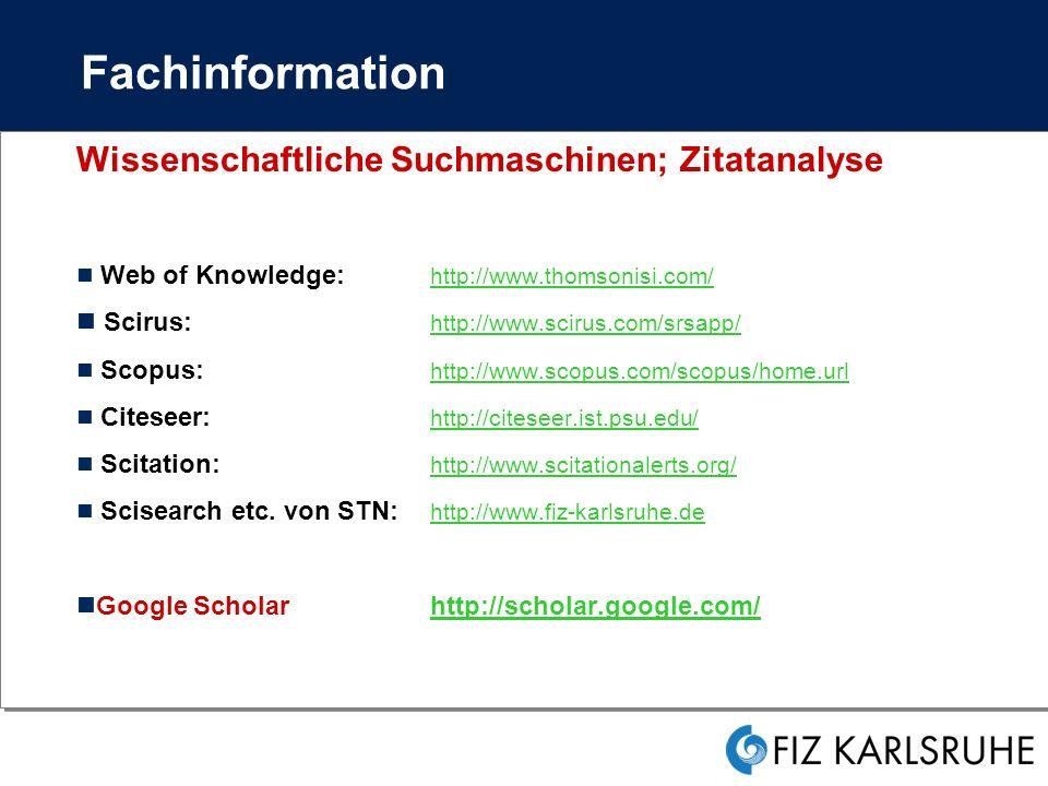 Fachinformation Wissenschaftliche Suchmaschinen; Zitatanalyse