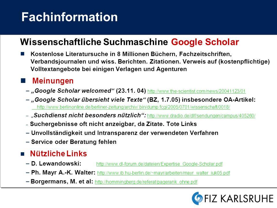 Fachinformation Wissenschaftliche Suchmaschine Google Scholar