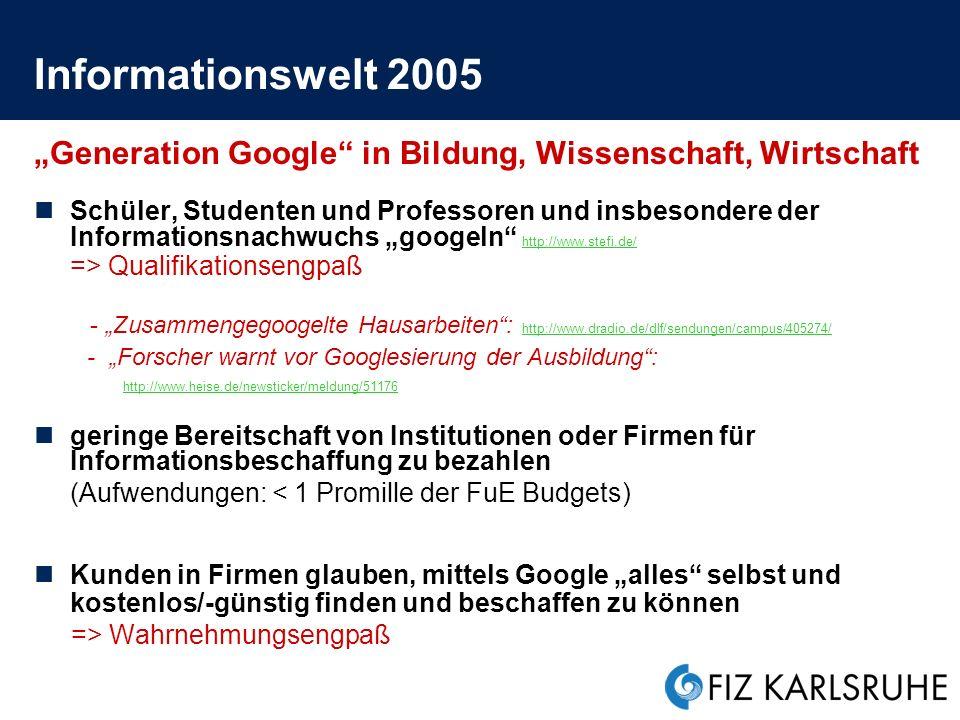 """Informationswelt 2005 """"Generation Google in Bildung, Wissenschaft, Wirtschaft."""