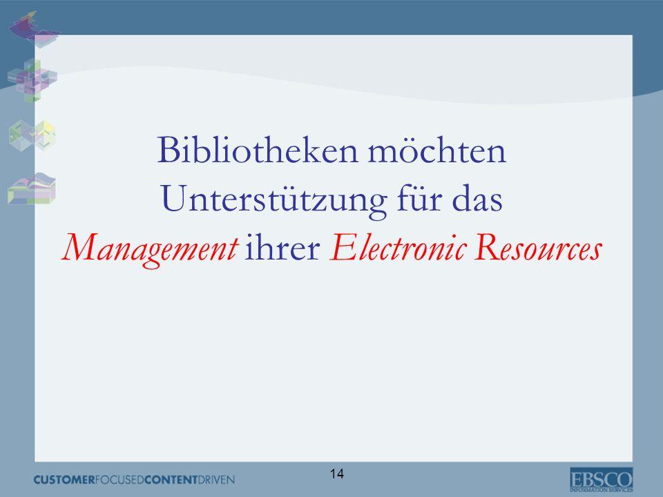 Bibliotheken möchten Unterstützung für das Management ihrer Electronic Resources