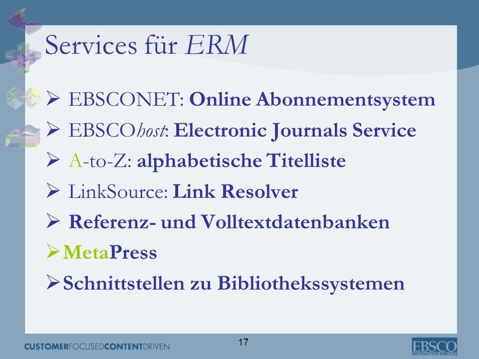 Services für ERM EBSCONET: Online Abonnementsystem