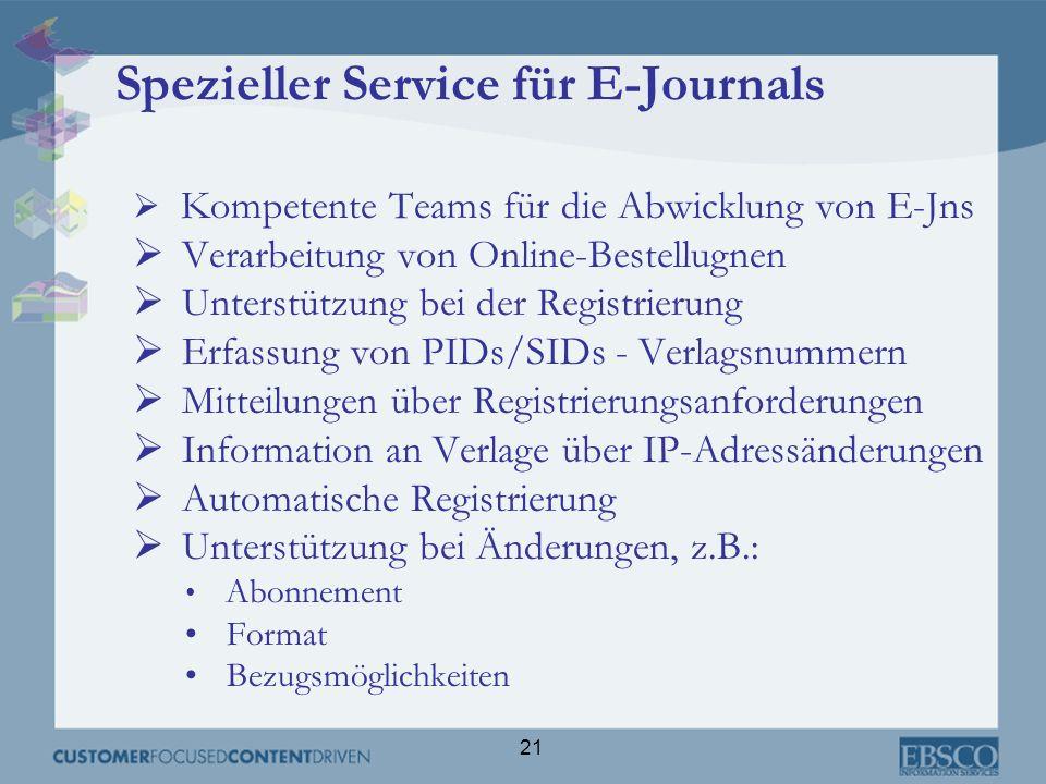 Spezieller Service für E-Journals