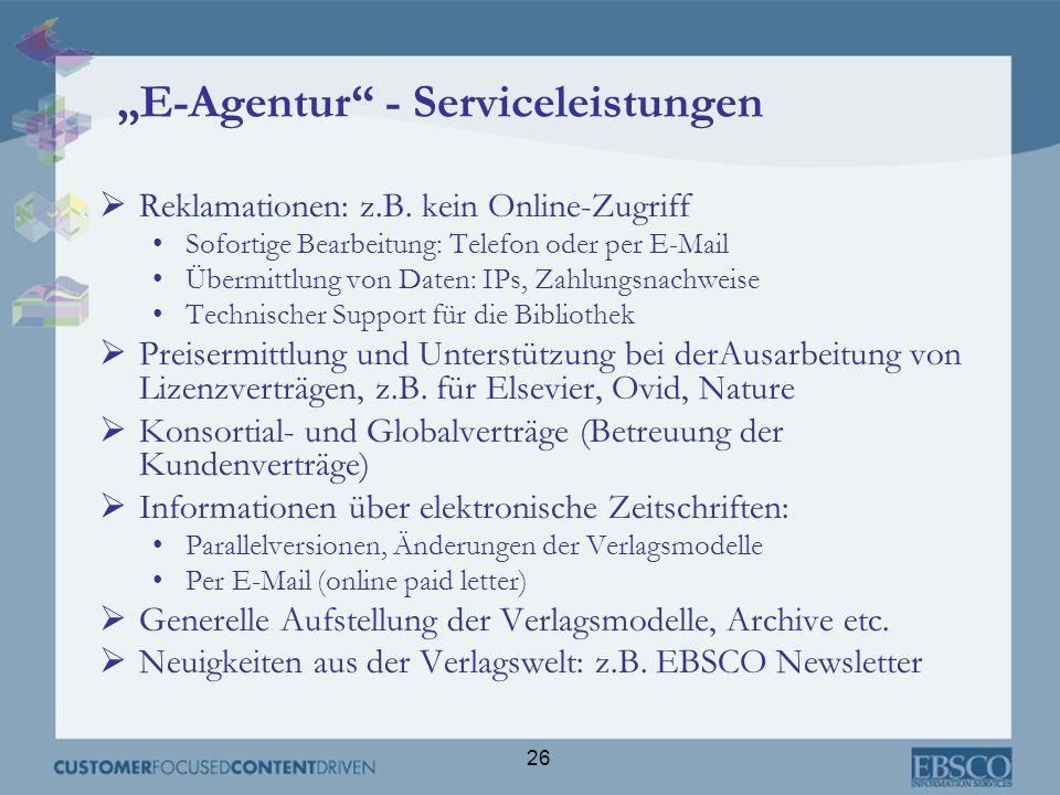 """""""E-Agentur - Serviceleistungen"""