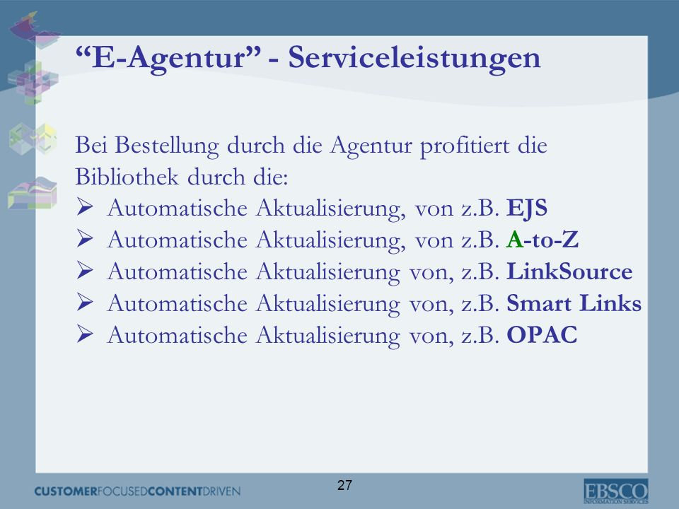 E-Agentur - Serviceleistungen