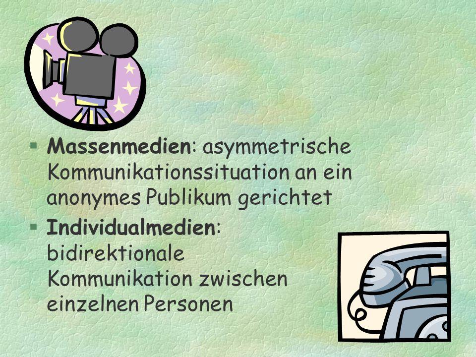 Massenmedien: asymmetrische Kommunikationssituation an ein anonymes Publikum gerichtet