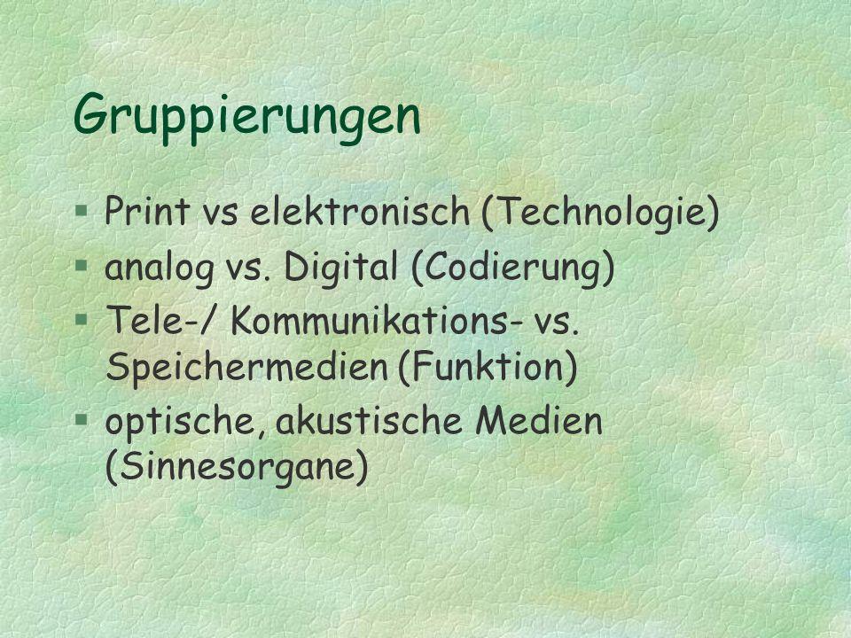 Gruppierungen Print vs elektronisch (Technologie)