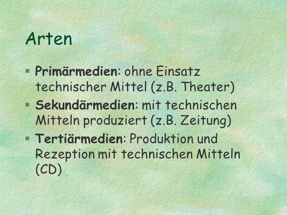 Arten Primärmedien: ohne Einsatz technischer Mittel (z.B. Theater)