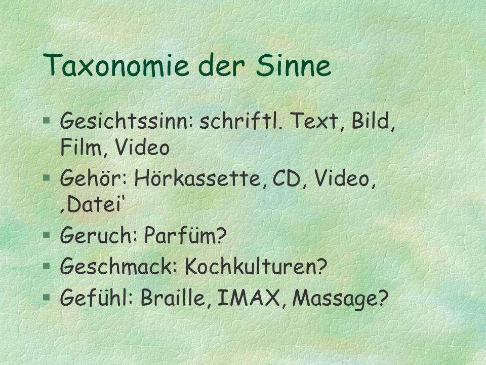 Taxonomie der Sinne Gesichtssinn: schriftl. Text, Bild, Film, Video