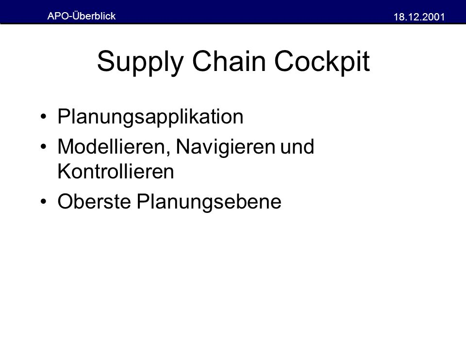 Supply Chain Cockpit Planungsapplikation