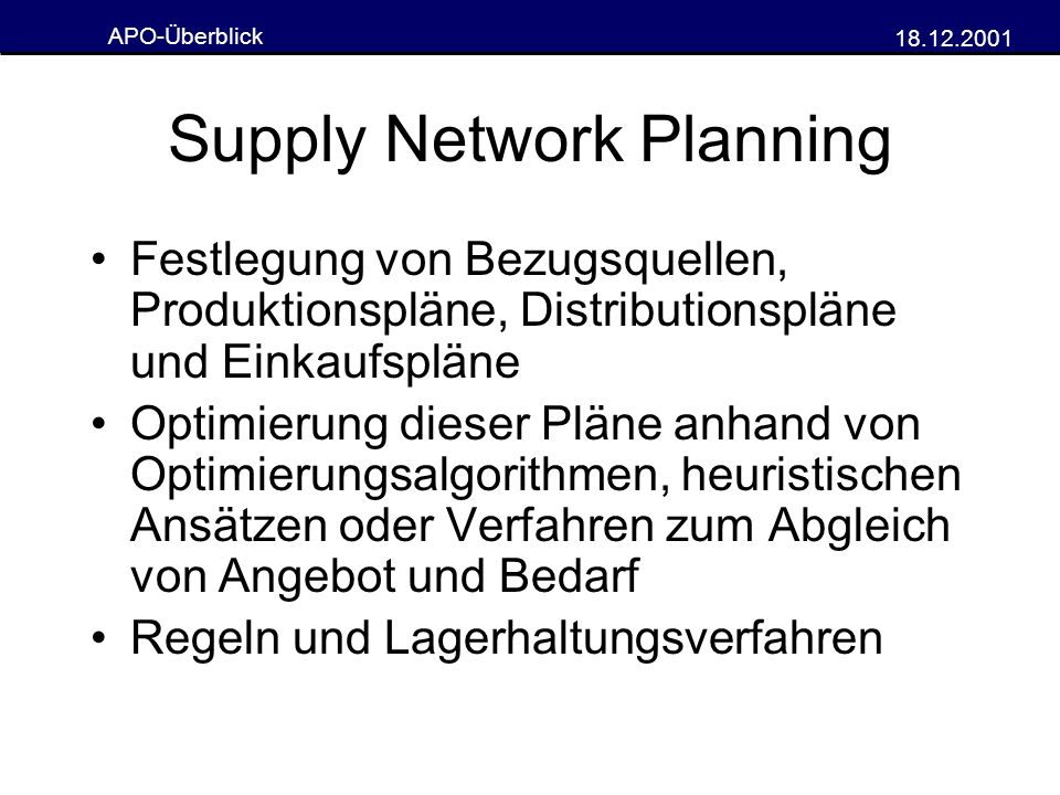 Supply Network Planning