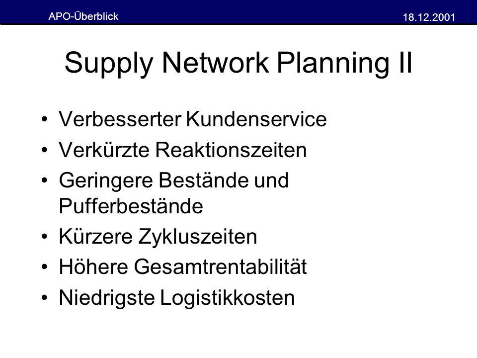 Supply Network Planning II