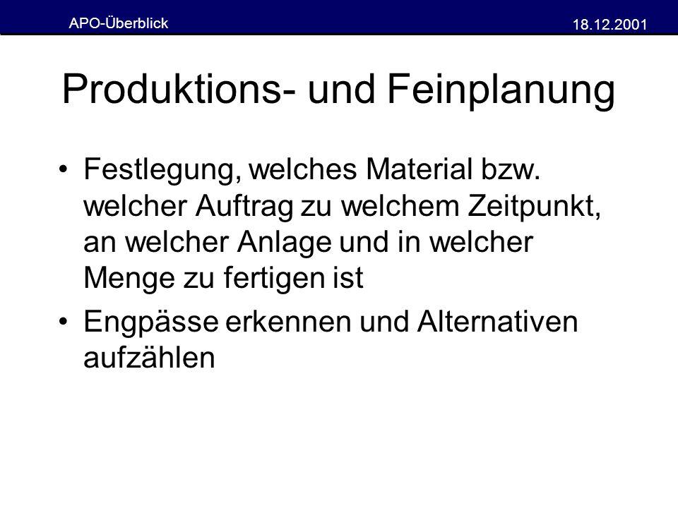 Produktions- und Feinplanung