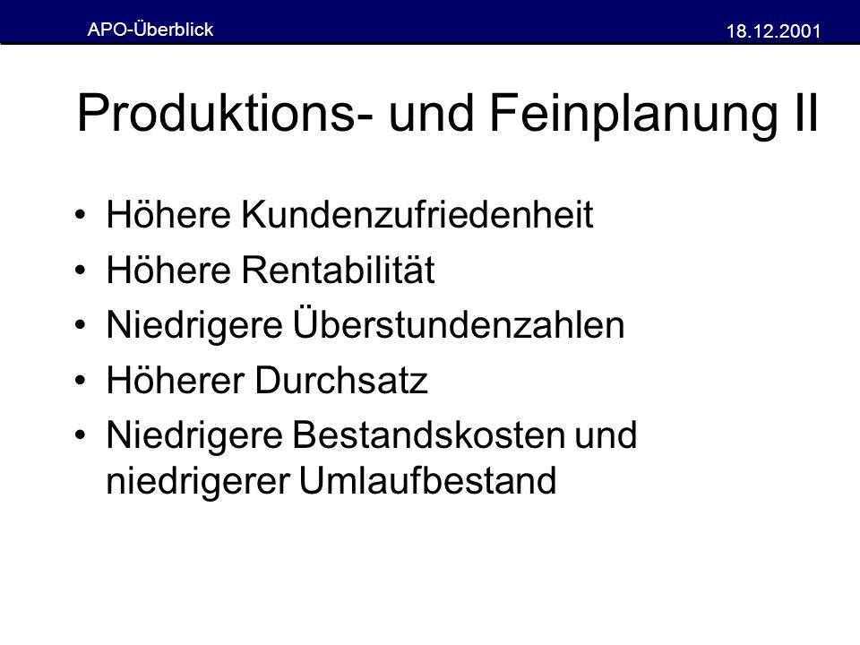 Produktions- und Feinplanung II
