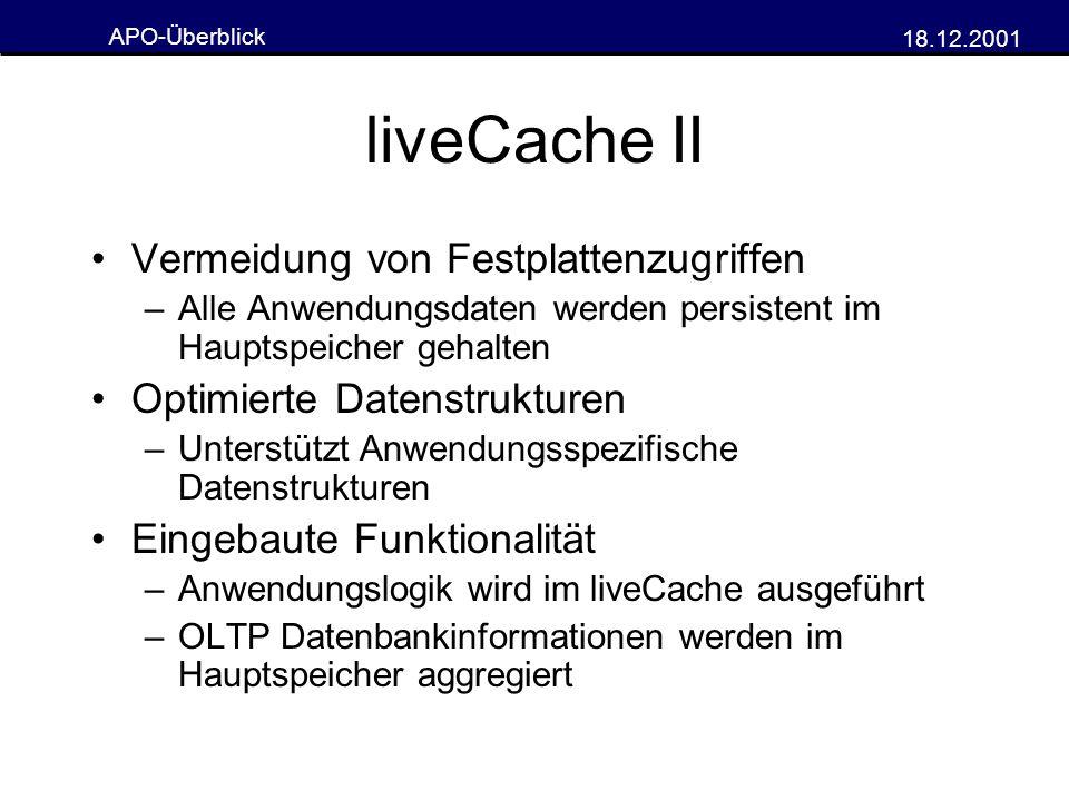 liveCache II Vermeidung von Festplattenzugriffen