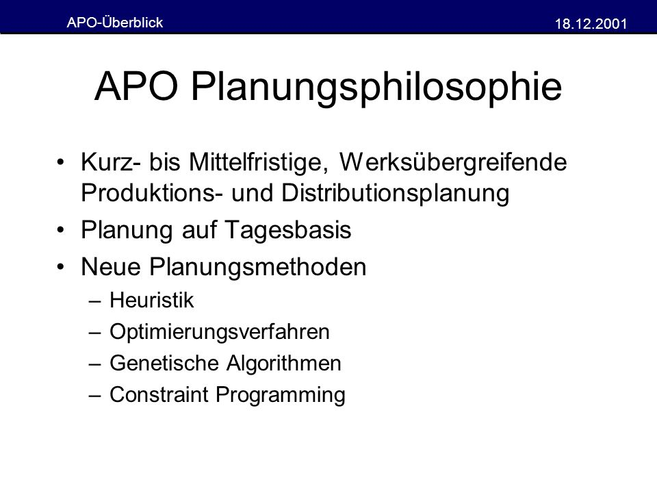APO Planungsphilosophie