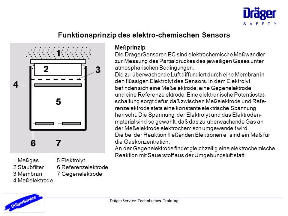Funktionsprinzip des elektro-chemischen Sensors