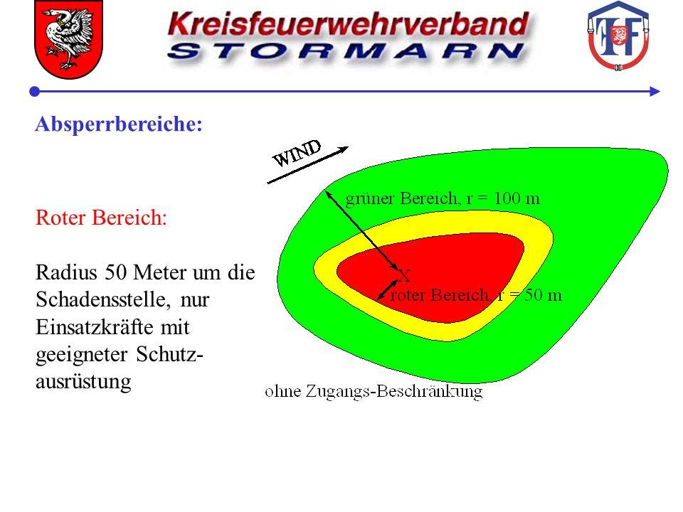Absperrbereiche: Roter Bereich: Radius 50 Meter um die. Schadensstelle, nur. Einsatzkräfte mit. geeigneter Schutz-