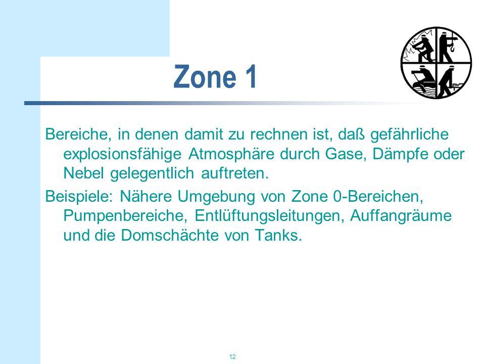 Zone 1 Bereiche, in denen damit zu rechnen ist, daß gefährliche explosionsfähige Atmosphäre durch Gase, Dämpfe oder Nebel gelegentlich auftreten.