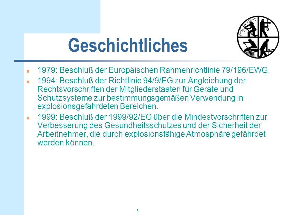 Geschichtliches 1979: Beschluß der Europäischen Rahmenrichtlinie 79/196/EWG.