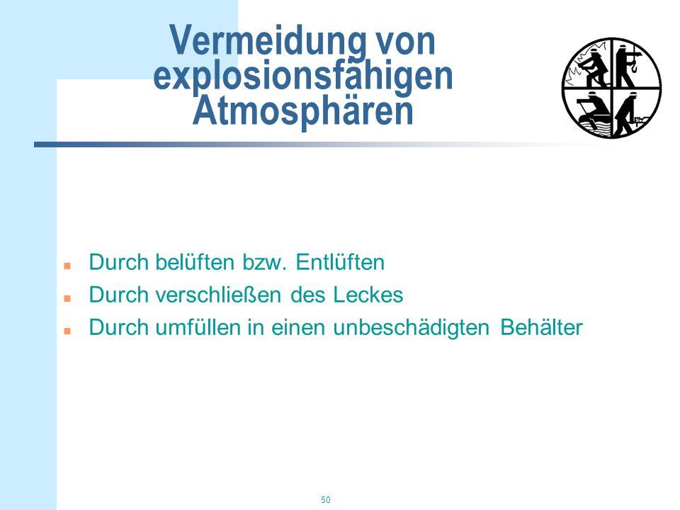 Vermeidung von explosionsfähigen Atmosphären
