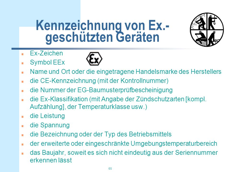 Kennzeichnung von Ex.-geschützten Geräten