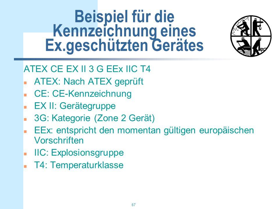 Beispiel für die Kennzeichnung eines Ex.geschützten Gerätes