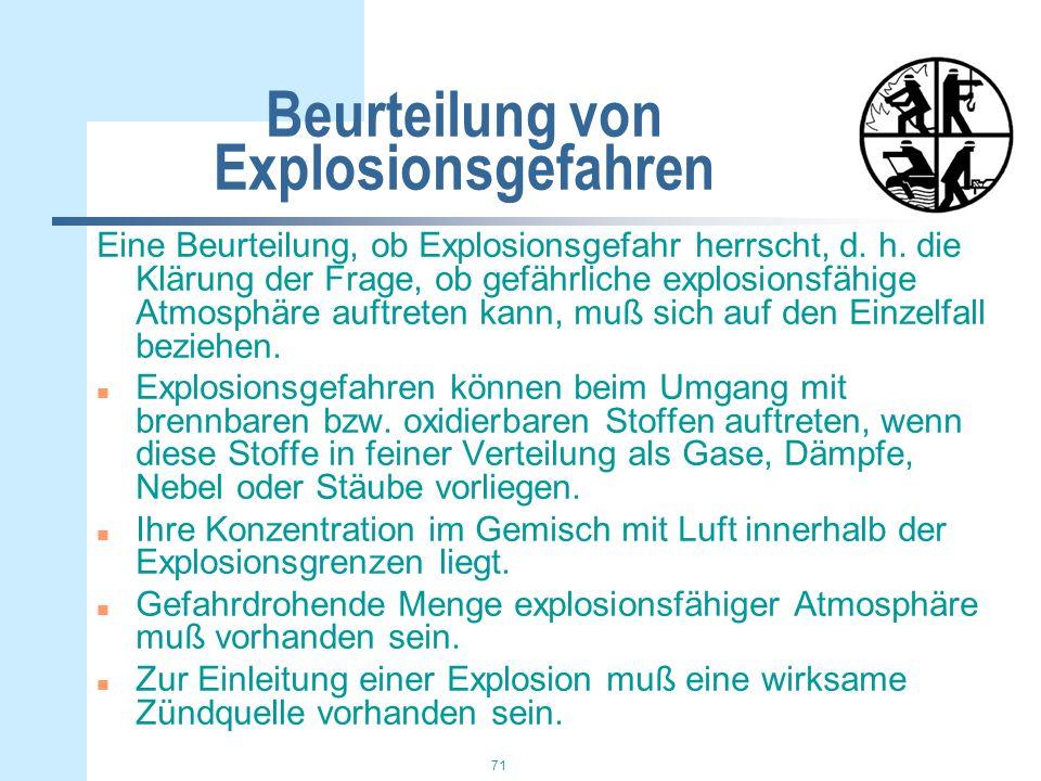 Beurteilung von Explosionsgefahren