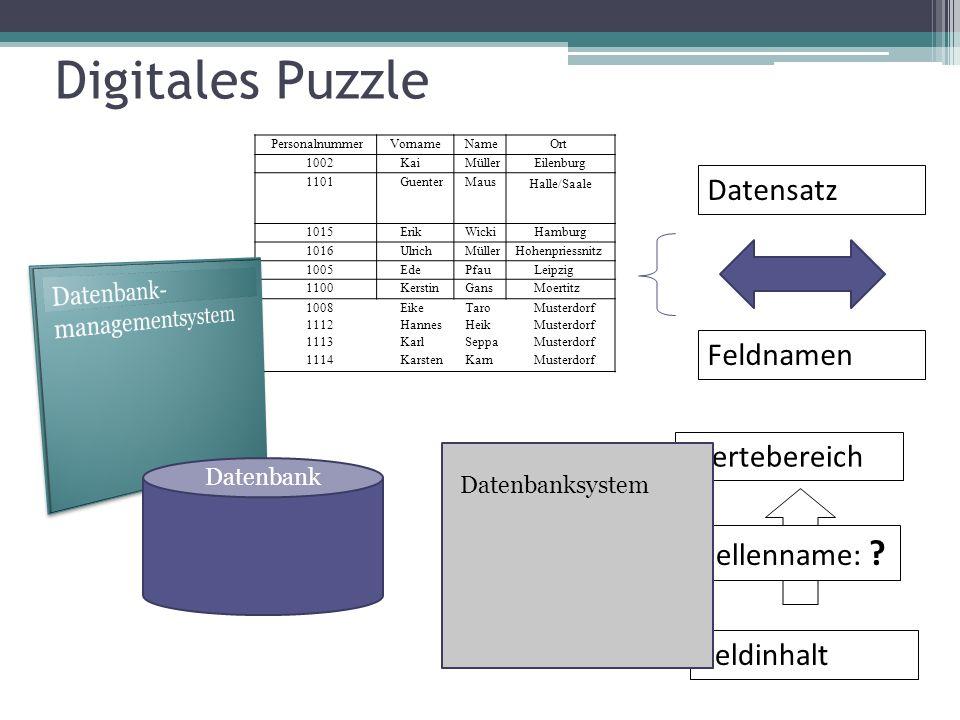 Digitales Puzzle Datensatz Feldnamen Wertebereich Tabellenname: