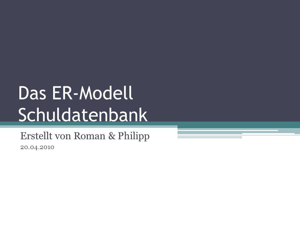 Das ER-Modell Schuldatenbank