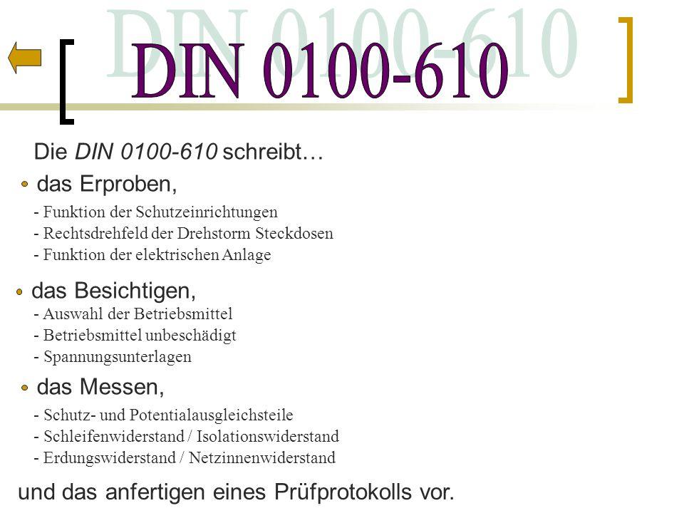 DIN 0100-610 Die DIN 0100-610 schreibt… das Erproben, das Besichtigen,