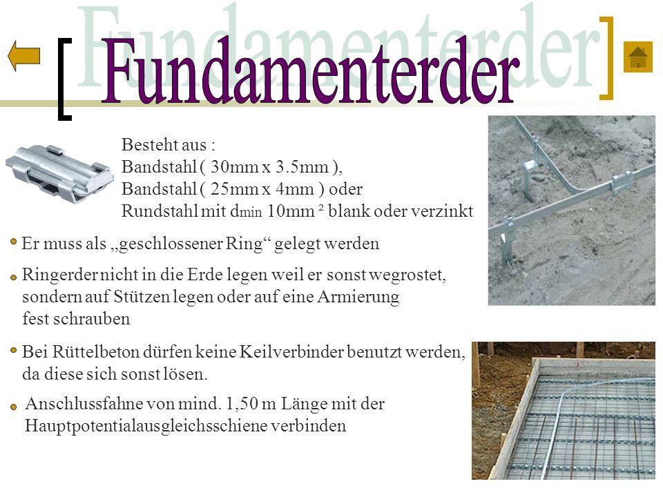 Fundamenterder Besteht aus : Bandstahl ( 30mm x 3.5mm ),