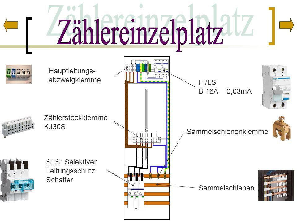 Zählereinzelplatz Hauptleitungs- abzweigklemme FI/LS B 16A 0,03mA