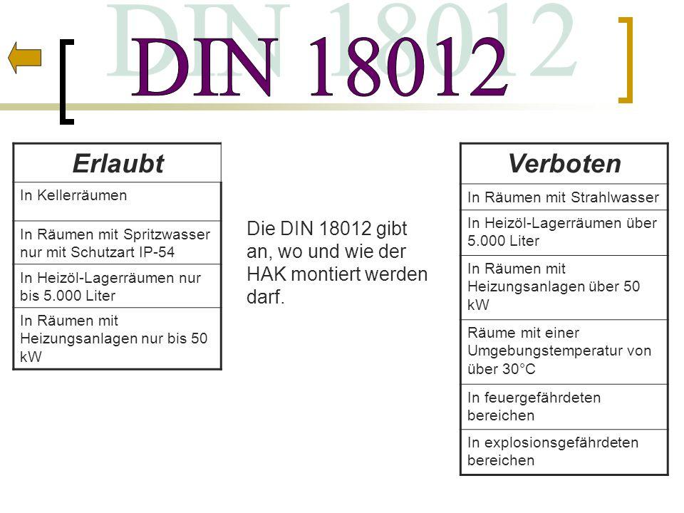 DIN 18012 Erlaubt. In Kellerräumen. In Räumen mit Spritzwasser nur mit Schutzart IP-54. In Heizöl-Lagerräumen nur bis 5.000 Liter.