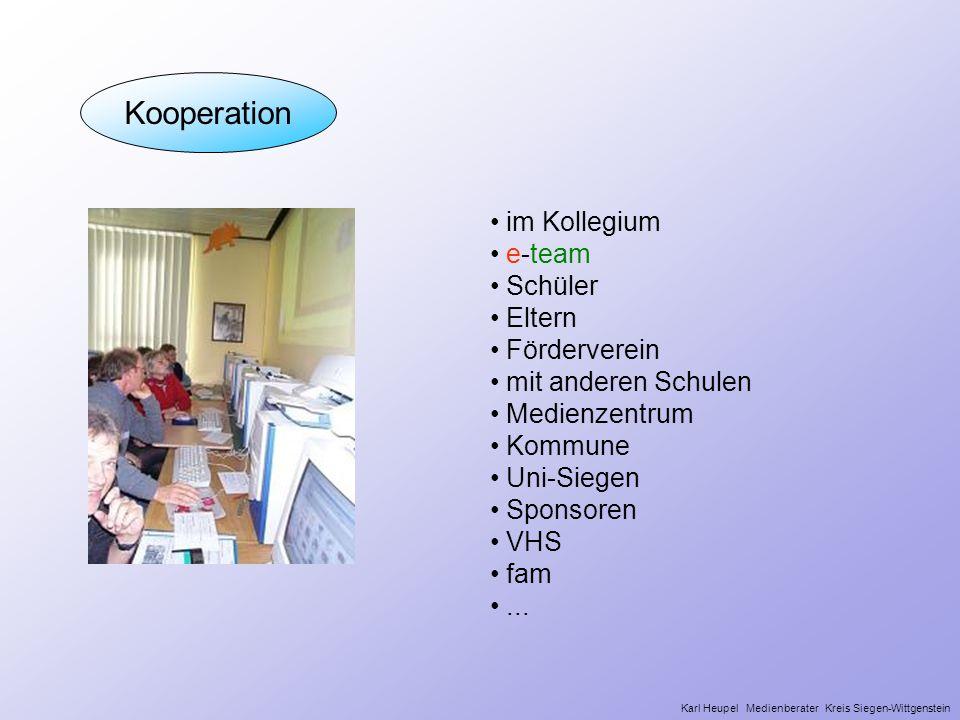 Kooperation Wer mit wem im Kollegium e-team Schüler Eltern