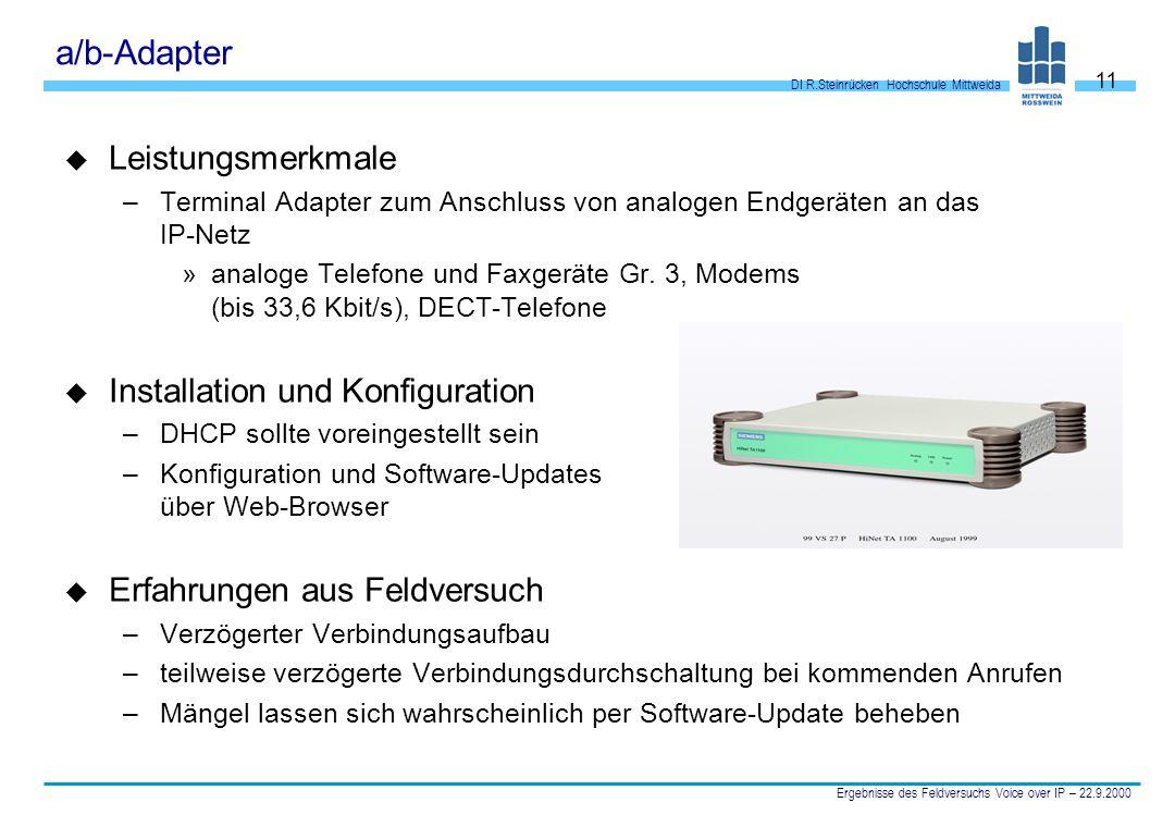 a/b-Adapter Leistungsmerkmale Installation und Konfiguration