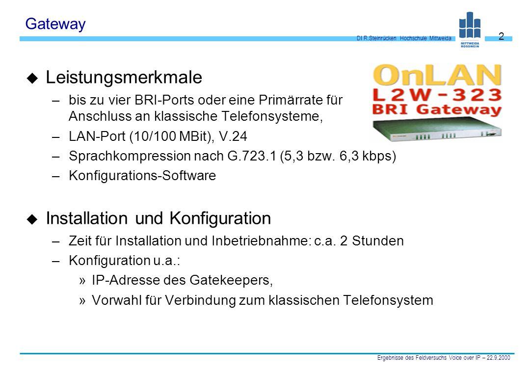 Leistungsmerkmale Installation und Konfiguration Gateway