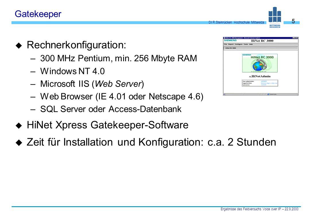 Zeit für Installation und Konfiguration: c.a. 2 Stunden