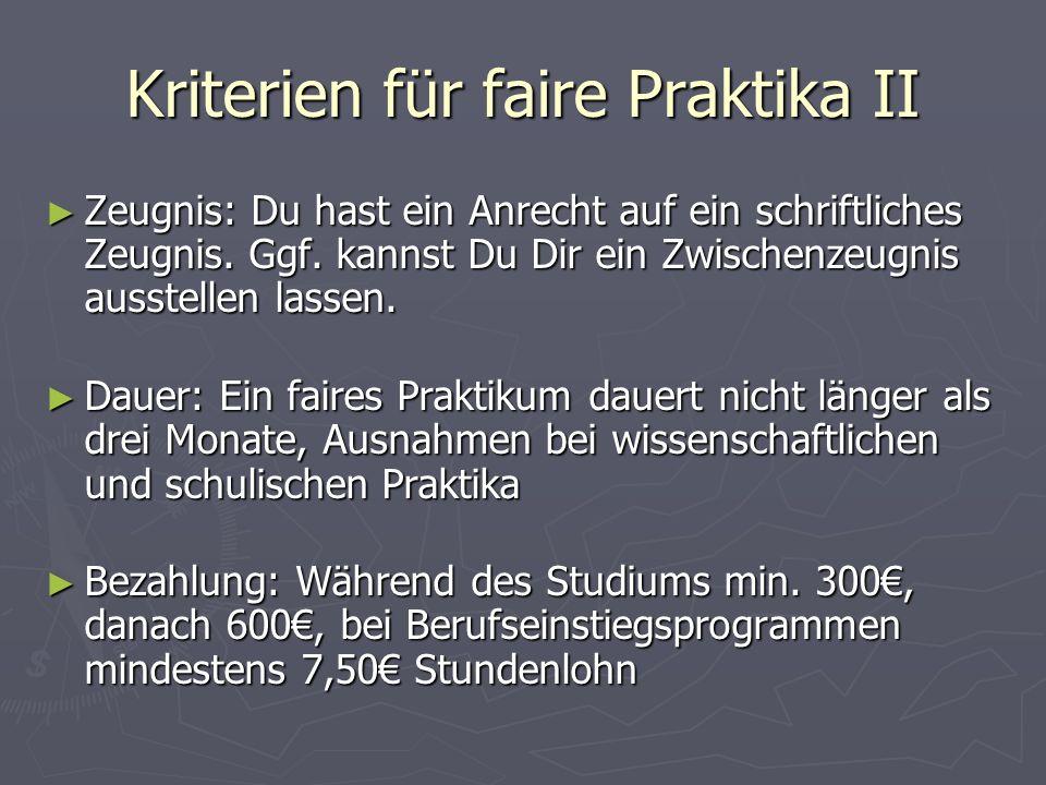 Kriterien für faire Praktika II