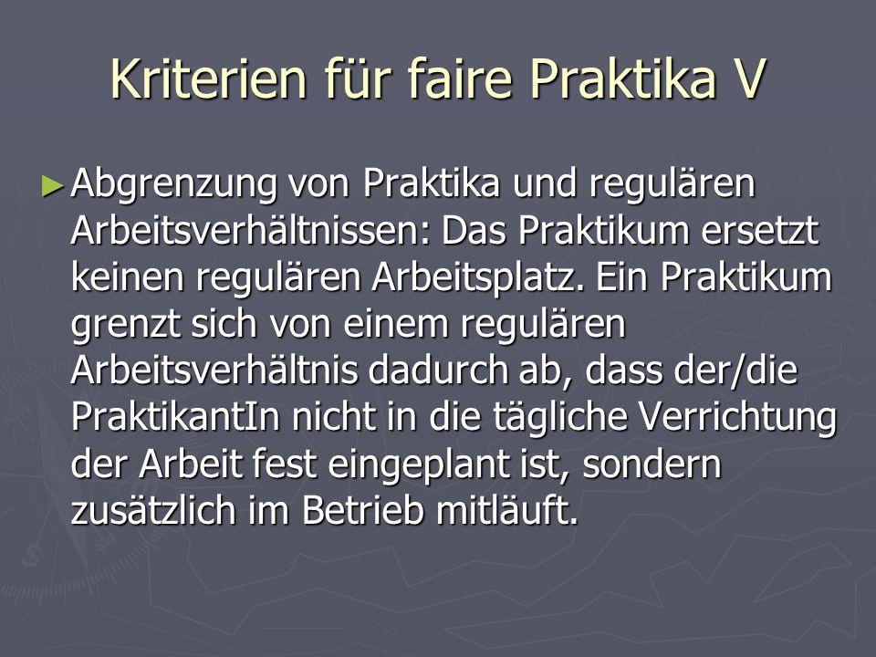 Kriterien für faire Praktika V